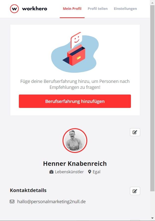 Profil bei WorkHero anlegen