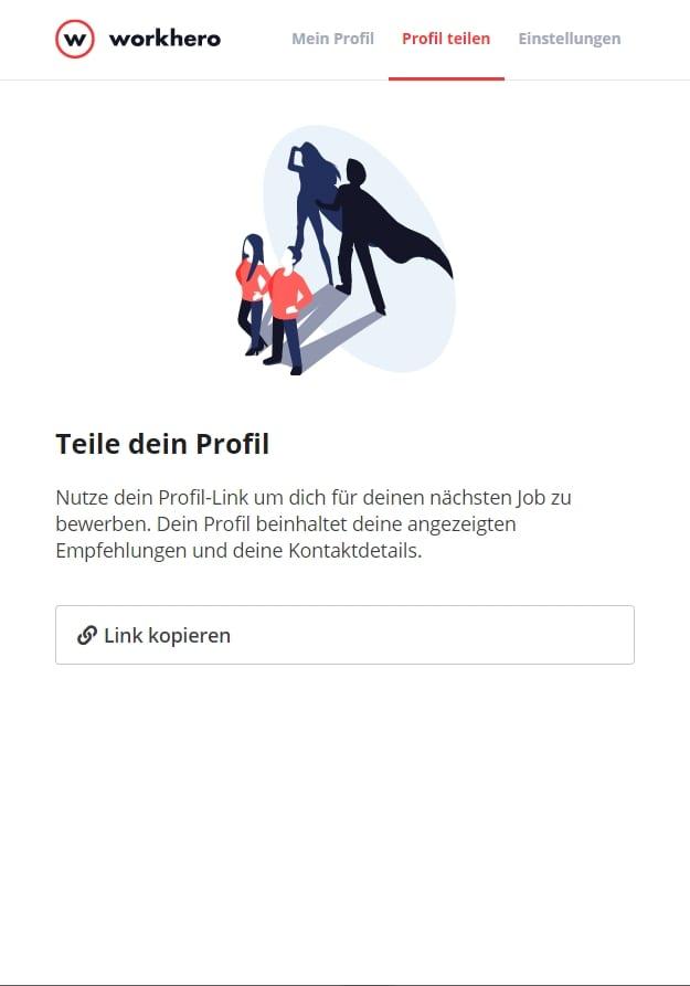 WorkHero - Einfach nur noch das Profil per Link teilen, fertig