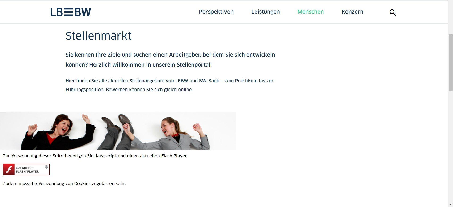 Jobportal mit Flash - keine Bewerbung möglich