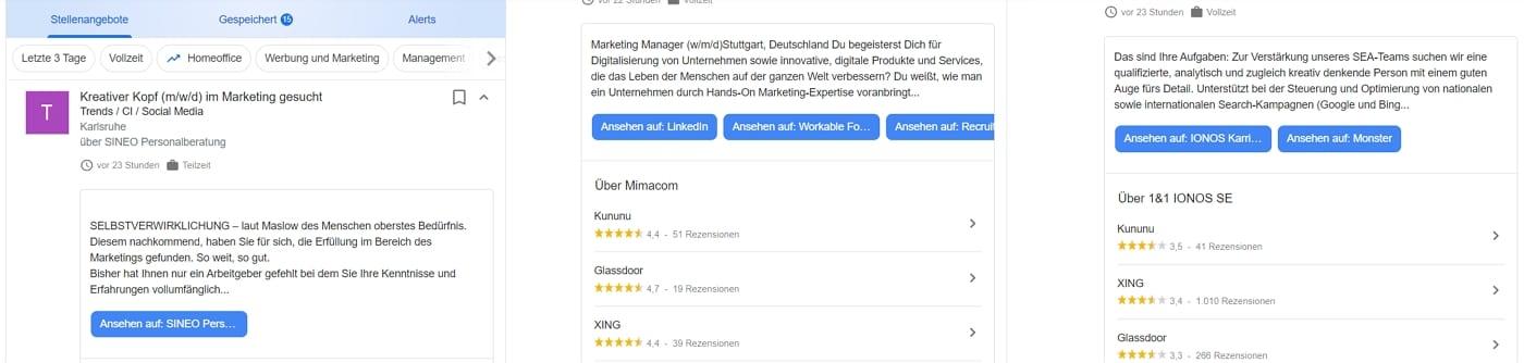 Vorschautexte von Stellenanzeigen bei Google for Jobs