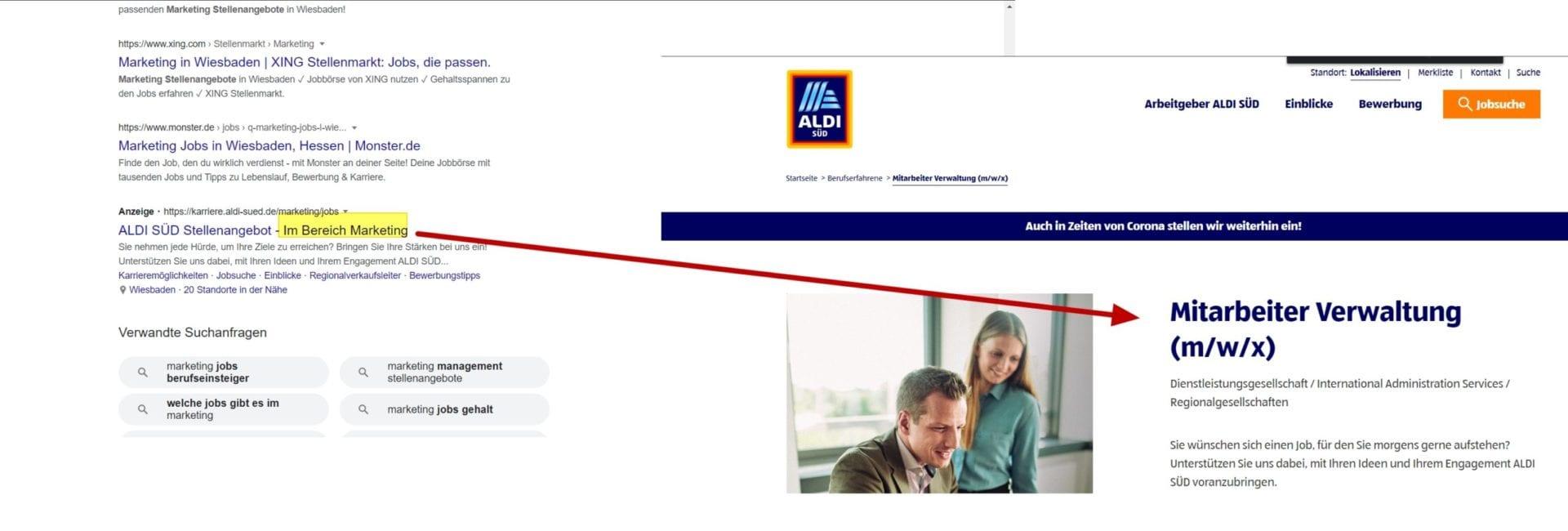 Google Ads im Recruiting - so nicht. Die Versprechen werden auf der Karriere-Landing-Page nicht eingelöst, der Interessent ist weg